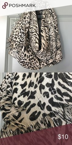 Leopard Scarf Lightweight wrap scarf, neutral leopard print with silver thread detailing. Forever 21 Accessories Scarves & Wraps
