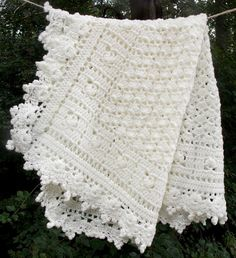 Ivory Baby Blanket Crochet Baby Cream by sweetpeacollections, $28.00