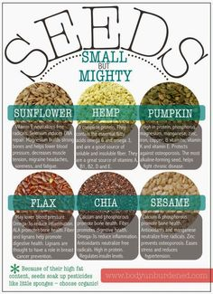 Health Benefits of Seeds including Chia, Flax, Hemp, Pumpkin, Sesame and Sunflower - Infographic