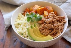 """Bring Chipotle home with this Paleo Burrito Bowl, featuring cilantro """"rice"""" and the easiest pulled chicken. And you don't need to pay $2 for the guacamole."""