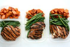Chipotle Chicken Meal Prep w/ Roasted Sweet Potatoes and Green Beans - Powered by @ultimaterecipe