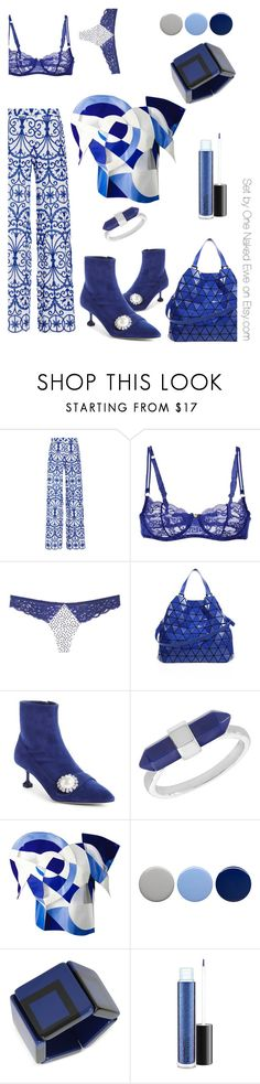 """""""The geometry of the blues"""" by onenakedewe ❤ liked on Polyvore featuring Alcoolique, Versace, Fleur du Mal, Bao Bao by Issey Miyake, Miu Miu, Burberry, INC International Concepts, MAC Cosmetics and Blue"""