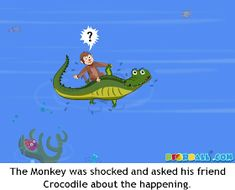 The Crocodile and The Monkey Moral Story with Pictures for Kids in English. English Stories For Kids, English Worksheets For Kids, Short Stories For Kids, English Story, Republic Day Speech, Picture Story For Kids, Kids Story Books, Children Stories, Easy Cartoon Drawings