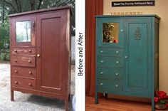 repurposed furniture before and after | Turquoise Armoire- Before and After – Sold