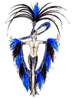 Sapphire Jubilee showgirl costume sketch by Bob Mackie