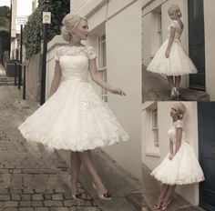 Wholesale A-Line Wedding Dresses - Buy Hot Selling Little White Dresses 2014 Jewel Neck Knee-length Covered Button Vintage Wedding Dresses Lace A-Line Garden Bridal Gowns, $139.0   DHgate