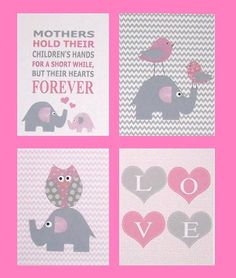 Mothers and Babies, Pink and Gray Nursery Art Baby Girl Room Art Kids by vtdesigns, $54.00