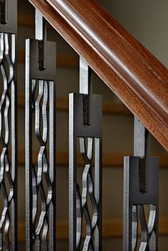Laser cut steel vertical stairwell supports.