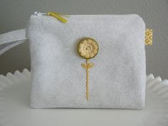 Soft White and Yellow Wool Felt Zippered Pouch by rosebudoriginals, $14.00