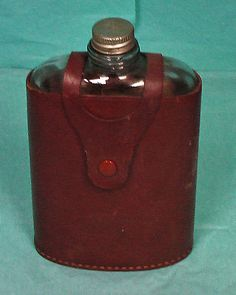 ElyteLeather Glass Flask...auction starting price...$5.00