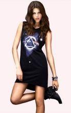 2015 européenne et américaine de la mode femmes robe chemise Galaxies dans l'espace vente lâche pierres t-shirts robe noire S / M / L / XL D081(China (Mainland))
