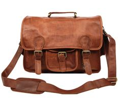 Leather Satchel Messenger Bag 15 Laptop capacity by MAHILeather