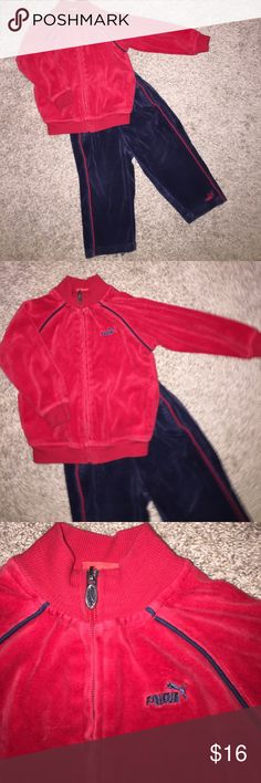 🎉HP🎉 Adorable Retro Puma Tracksuit size 24 month Adorable Retro Puma Tracksuit size 24 months Soft Velour! Red & Navy Blue Super cute! Great Condition!   Host Pick 9/10/17 Puma Matching Sets
