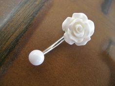 Rose Belly Button Ring Jewelry- White Rose Bud Rosebud Flower Navel Stud Piercing Bar Barbell. $15.00, via Etsy.
