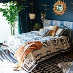 The Soleil quilt is Justina's modern spin on a traditional suzani quilt. The sun medallions are meant to radiate positive energy and good vibes into your bohemian bedroom. The dots combined with the s Bohemian Bedroom Decor, Bohemian House, Home Decor Bedroom, Modern Bedroom, Diy Home Decor, Bedroom Ideas, Bedroom Designs, Contemporary Bedroom, Eclectic Bedroom Decor