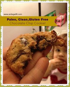 Paleo, Clean, Gluten Free, Delicious Chocolate Chip Cookie! Less coconut oil used here. Really good!!
