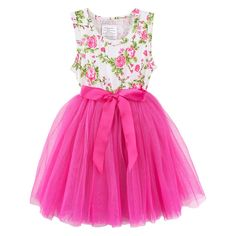 Gorgeous Harper Floral Tutu Dress!    This beautiful dress features a soft stretch bodice, super soft tulle skirt and satin ribbon tie!  Your little miss will LOVE twirling away in this!    Tutu Dress | First Birthday | Designer Kids Clothing | Kids Clothes | Baby Girl