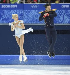 Tatiana Volosozhar and Maxim Trankov of Russia during the pairs short program of the Sochi 2014 Olympic Winter Games at Iceberg Skating Palace. Tatiana Volosozhar, Pairs Figure Skating, Ice Skaters, Ice Dance, Usa Today Sports, Winter Games, We Are The World, Poses, Figure Skating