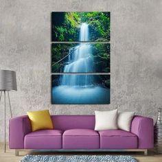 Asian Waterfall Multi Panel Canvas Wall Art