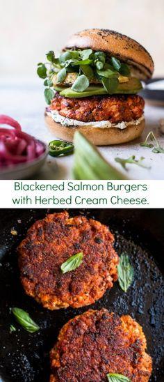 Blackened Salmon Burgers with Herbed Cream Cheese | halfbakedharvest.com @hbharvest