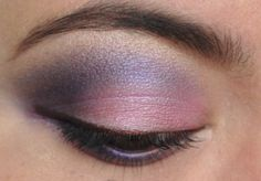 Purple and pink with a shimmery brown liner.