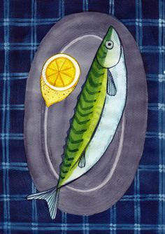 Mackerel © EwKa Lowes Food, Food Drawing, Fish Art, Naive, Art Lessons, Still Life, Surfboard, Art Drawings, Fishing
