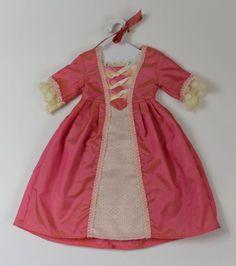 American-Girl-Doll-Elizabeth-Meet-Dress-Pink-Coral-Ball-Gown-Ribbon-Hanger-Lot