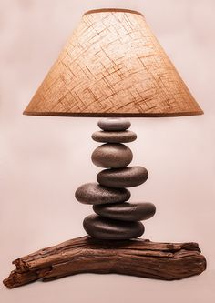Balanced Stone Lamp w/ Driftwood Base