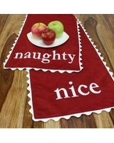 Passion Suede Naughty-Nice Table Runner, Table Runner, Red, Holiday, Novelty