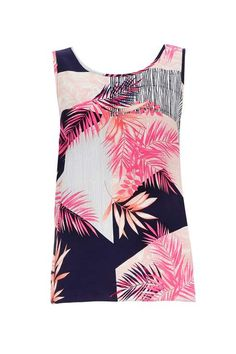 Pink Stripe Palm Camisole Top