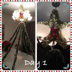 Day 1 of Twinkle Toes Journey. Made a tree from our dining room chandelier!