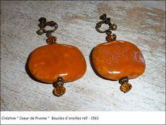 Boucles d'oreilles orange en pierre