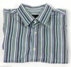 Etro Milano Made in ITALY Men's Green Gray Striped Long sleeve dress shirt SZ L