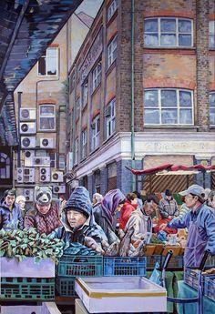 BackGround original painting of a market stall on by BevJonesArt