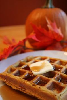 Pumpkin Waffles. These were amazing.  I got rave reviews from everyone in the family.