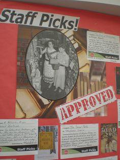 Staff Picks Bulletin Board Display by Eden Prairie Library
