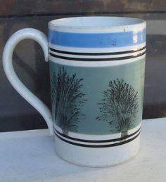 19th C English mocha soft paste pint sized mug w seaweed * £62 USA
