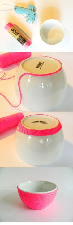 DIY neon twine wrapped bowl