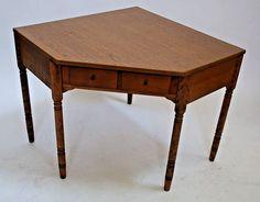 Very Nice Vintage Ethan Allen Nutmeg Maple 1 Drawer Corner Desk Vanity