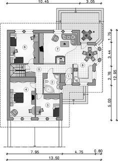 Projekt domu Gustaw 109,75 m2 - koszt budowy - EXTRADOM Floor Plans, Architecture, House, Home, Arquitetura, Architecture Design, Homes, Floor Plan Drawing, Houses