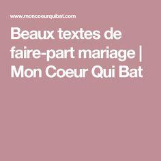 Beaux textes de faire-part mariage | Mon Coeur Qui Bat