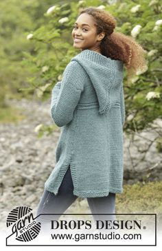 Aredhel by DROPS Design. Big cozy jacket with hood. Free #knitting pattern