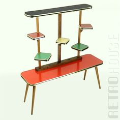 Home bar mid century modern 3 Atomic Chairs & Footstool Wire Vintage Plant Stand Table &