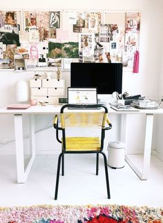 bohemian modern colorful home office with vintage yellow and black desk chair. Furniture Ads, Cheap Furniture, Office Furniture, Furniture Stores, Home Office, Office Workspace, Office Spaces, Workspace Inspiration, Inspiration Boards