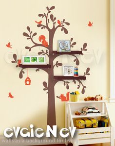 Floating Shelves Tree Wall Decal with Birds and Squirrels -Nursery Wall Decals - Tree Wall Sticker - TRFS010. $85.00, via Etsy.