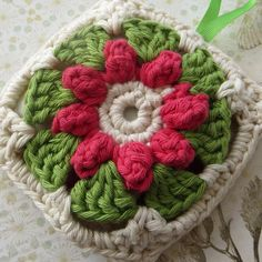 Crochet Lavender Scented Bag - Pink, Cream & Green £6.50