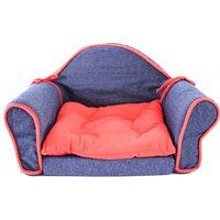 Cheap Pet Bed Sofa Couch Lounge Sleeper Blue Denim Red Trim Cat Dog Soft Small…