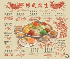 The Lunar New Year is an important festival for the Chinese around the world. In Singapore (and Southeast Asia), the food is an important element of the festival and here are some of the festive snacks enjoyed during the festival. Menu Design, Food Design, Chinese New Year Food, Pinterest Instagram, Food Sketch, Food Cartoon, Watercolor Food, New Year's Food, Singapore Food