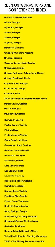 Reunion workshops and conferences Index Reunion planning workshops and events are held in many places, usually sponsored by a convention and visitors bureau. This information is provided as a service to reunion planners. Basic listings are free to workshop hosts. This is a list of places we know offer or have offered workshops. On the following pages you'll learn details about upcoming workshops. Clayton County, Dekalb County, Visitors Bureau, Illinois, Conference, Workshop, Planners, Events, Free