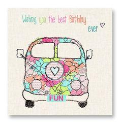 Blossom Camper Van Birthday Card
